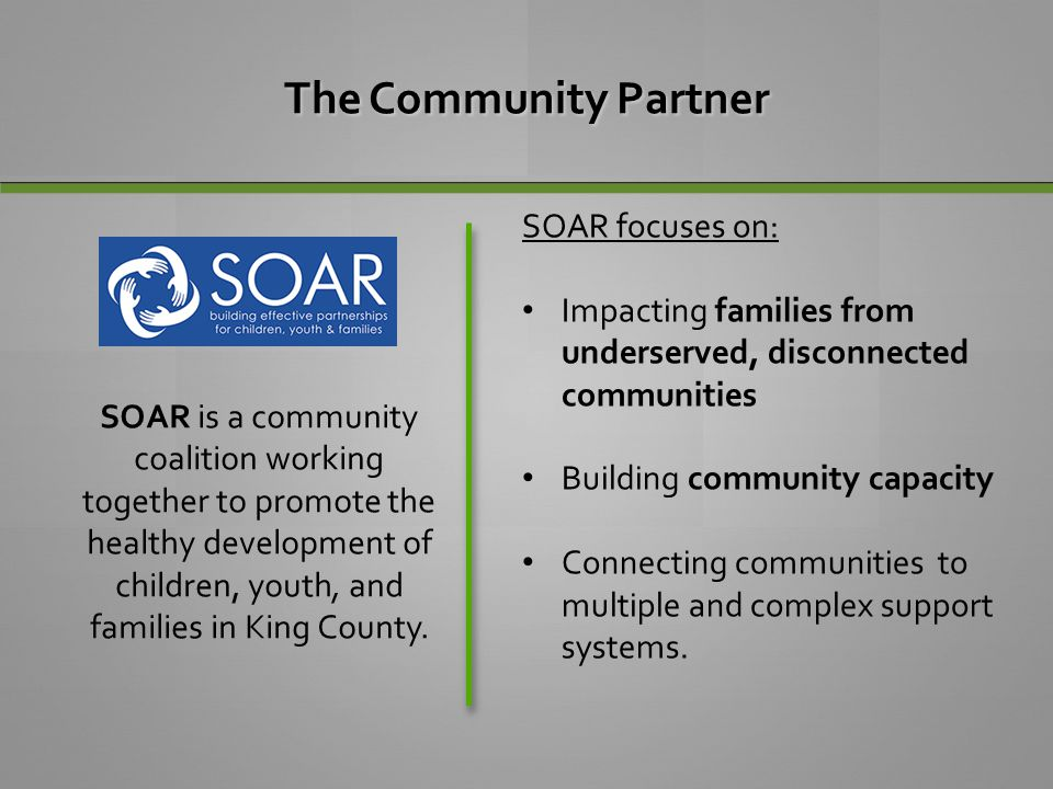 The Community Partner SOAR focuses on: