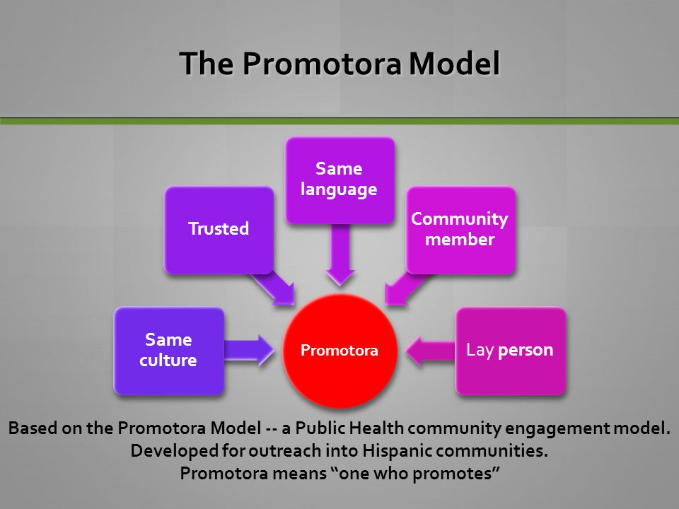 The Promotora Model Promotora. Same culture. Trusted. Same language. Community member. Lay person.