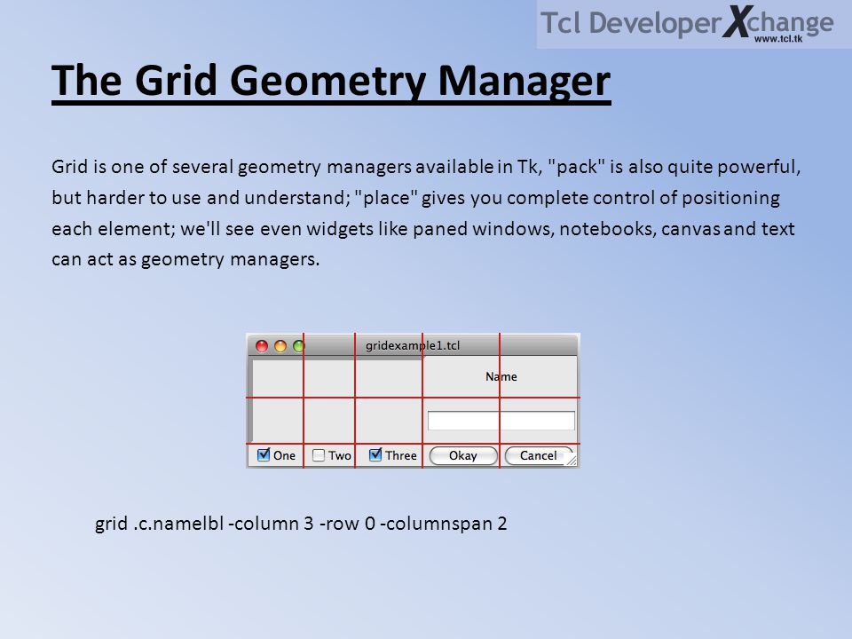 The Grid Geometry Manager