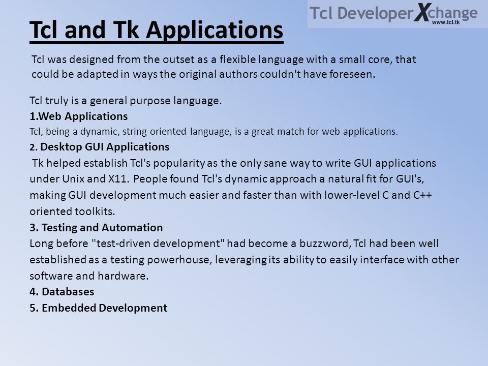 Tcl and Tk Applications