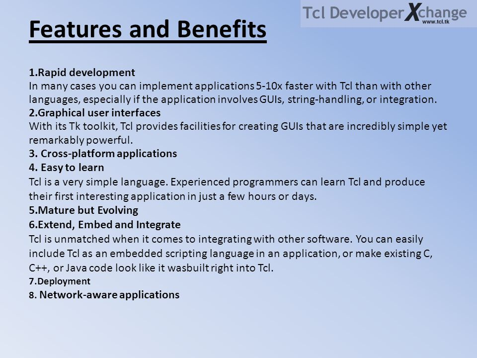 Features and Benefits 1.Rapid development