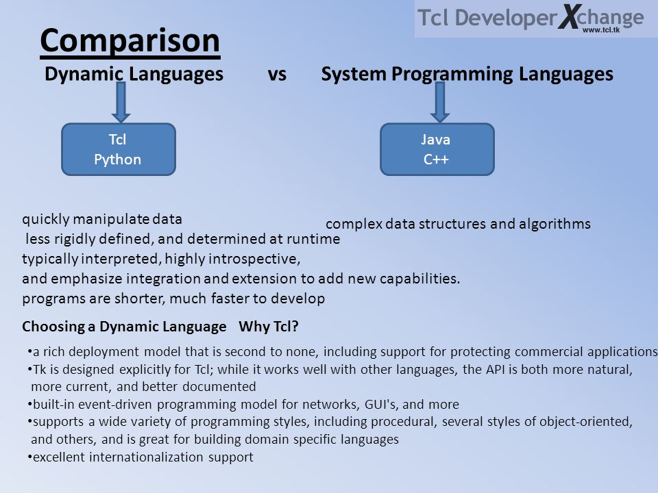 Comparison Dynamic Languages vs System Programming Languages Tcl