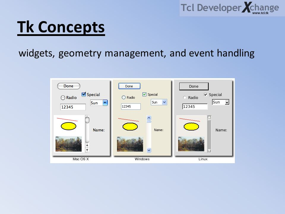Tk Concepts widgets, geometry management, and event handling
