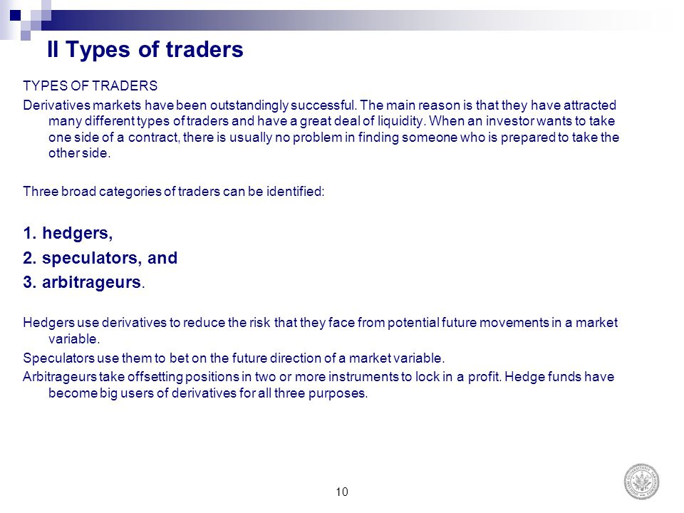 II Types of traders 1. hedgers, 2. speculators, and 3. arbitrageurs.