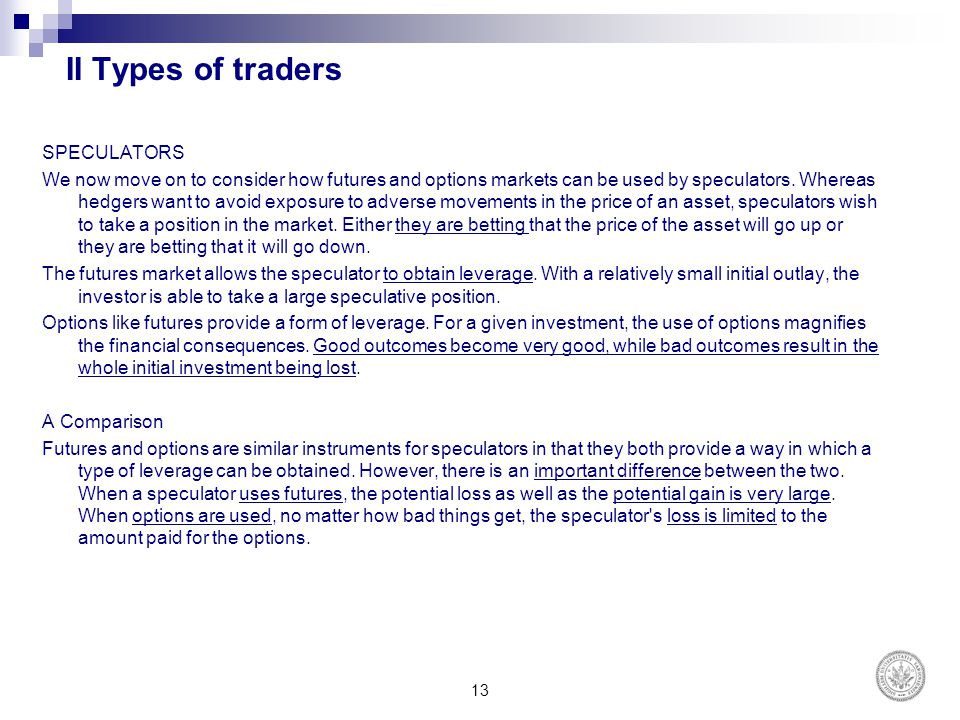 II Types of traders