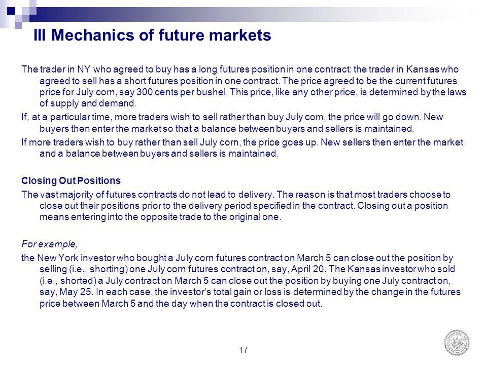III Mechanics of future markets