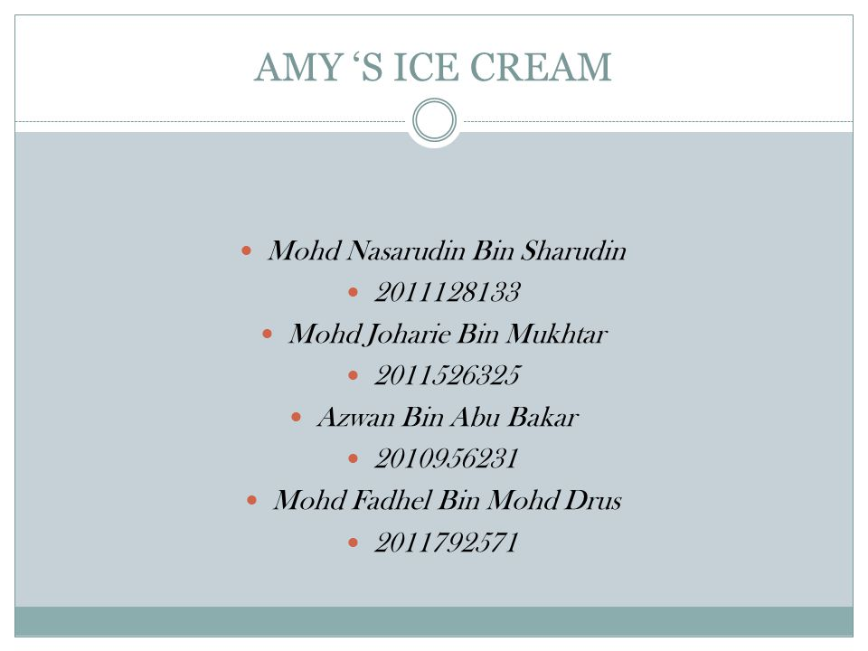 AMY 'S ICE CREAM Mohd Nasarudin Bin Sharudin 2011128133