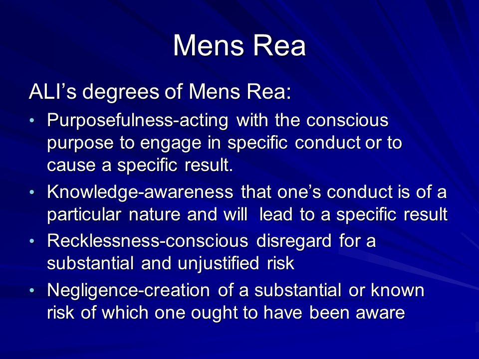 Mens Rea ALI's degrees of Mens Rea: