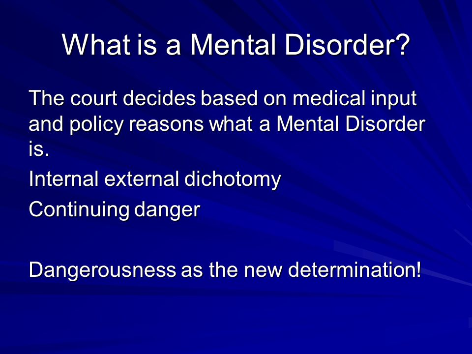 What is a Mental Disorder