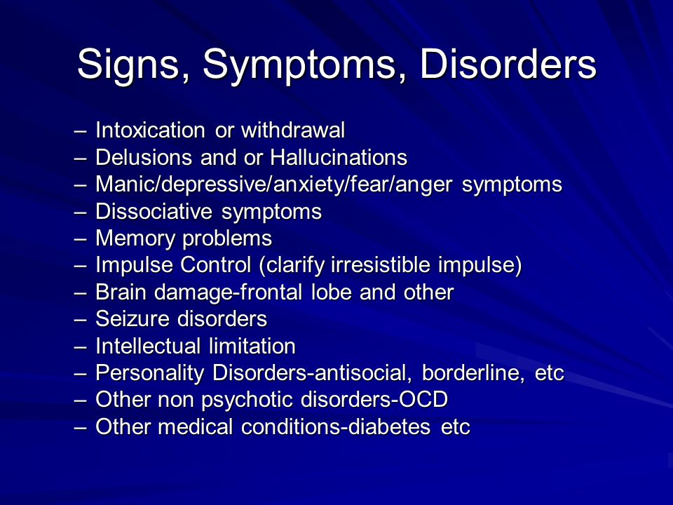 Signs, Symptoms, Disorders