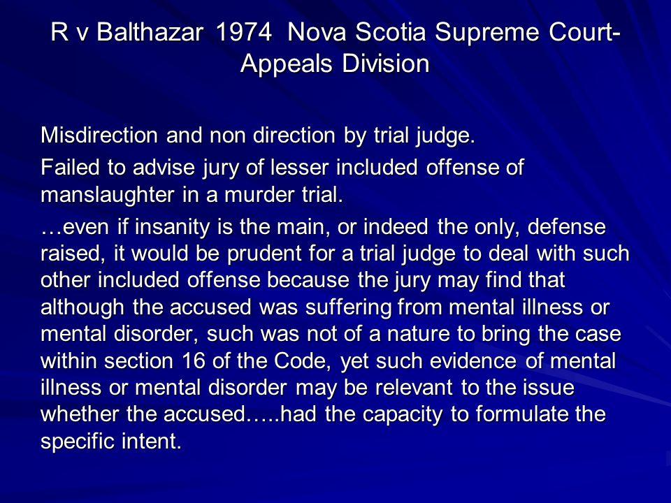 R v Balthazar 1974 Nova Scotia Supreme Court-Appeals Division