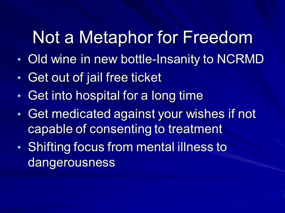 Not a Metaphor for Freedom
