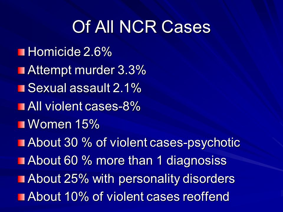 Of All NCR Cases Homicide 2.6% Attempt murder 3.3% Sexual assault 2.1%