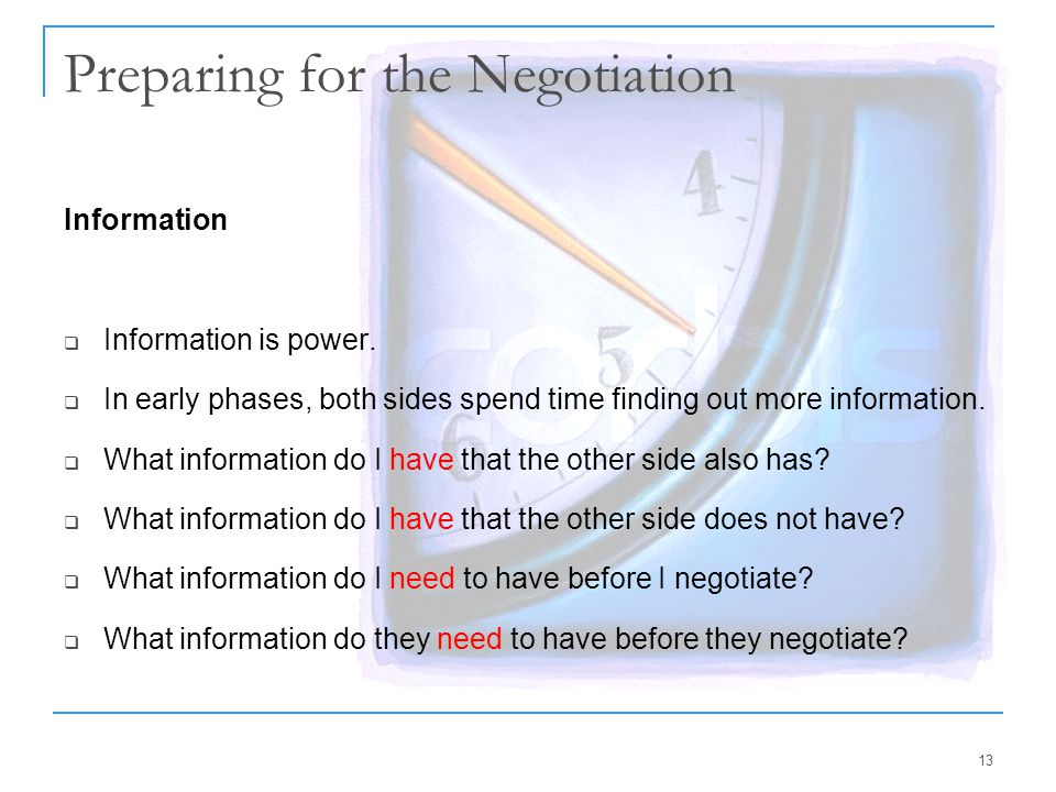 Preparing for the Negotiation