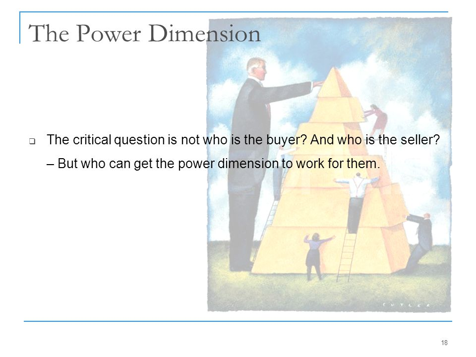 The Power Dimension The critical question is not who is the buyer.