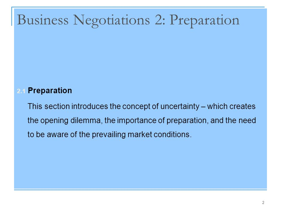 Business Negotiations 2: Preparation