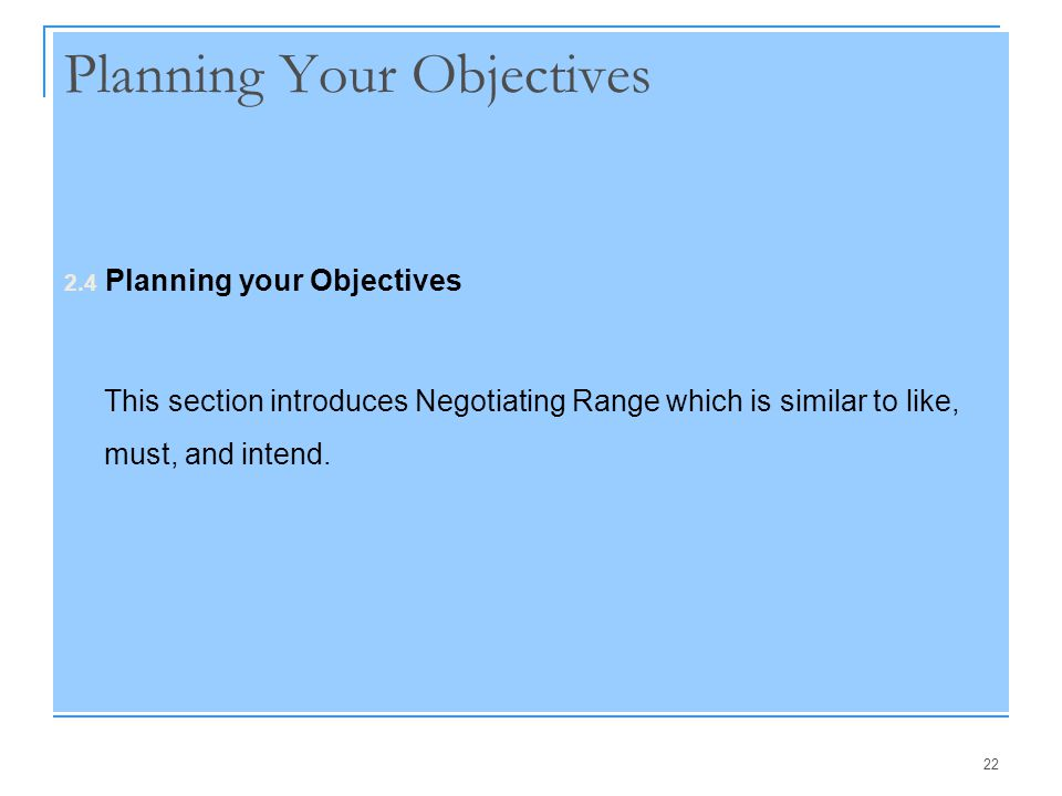 Planning Your Objectives