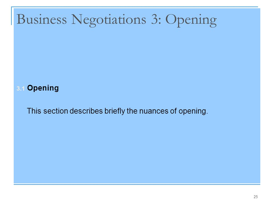 Business Negotiations 3: Opening