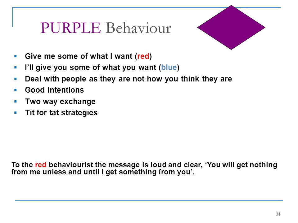 PURPLE Behaviour Give me some of what I want (red)