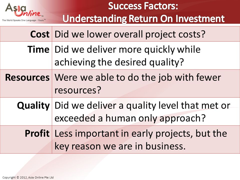 Success Factors: Understanding Return On Investment