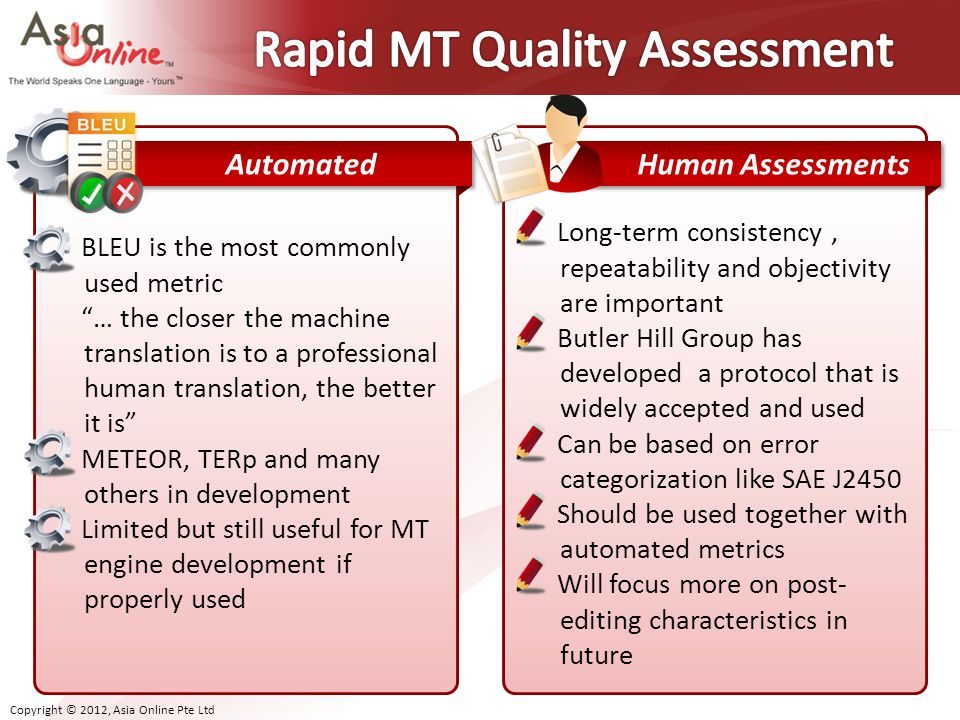 Rapid MT Quality Assessment