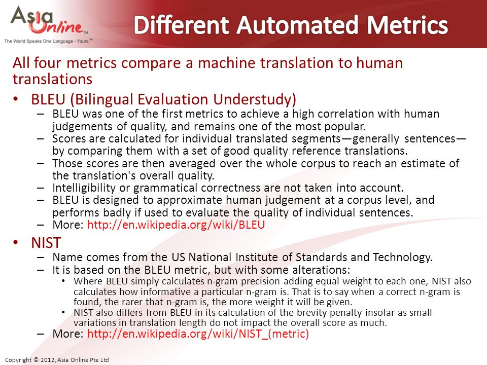 Different Automated Metrics