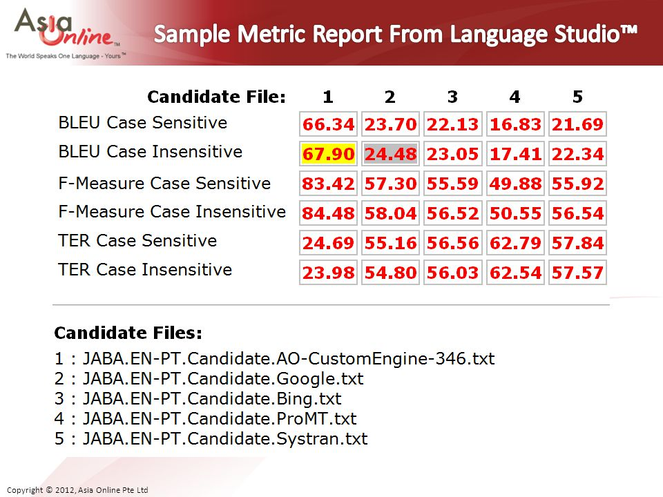 Sample Metric Report From Language Studio™