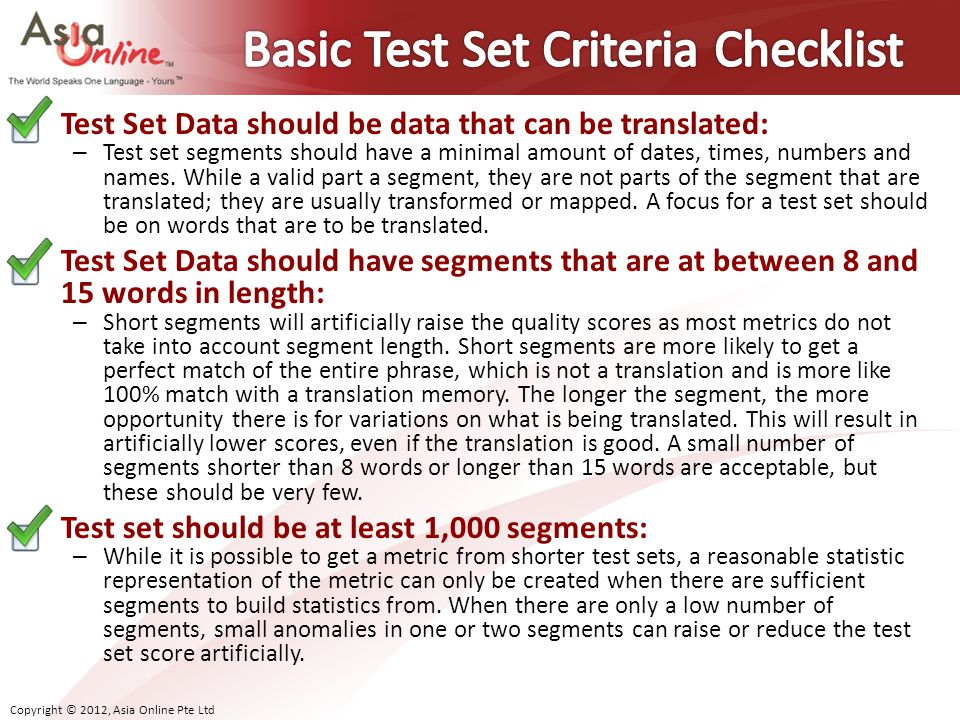 Basic Test Set Criteria Checklist