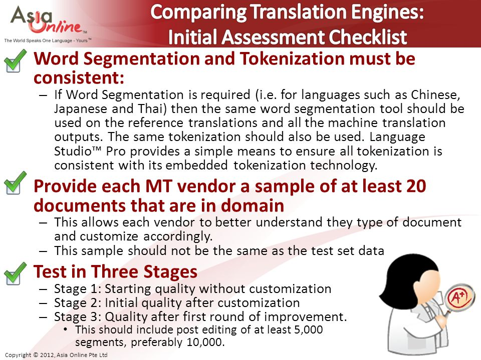 Comparing Translation Engines: Initial Assessment Checklist
