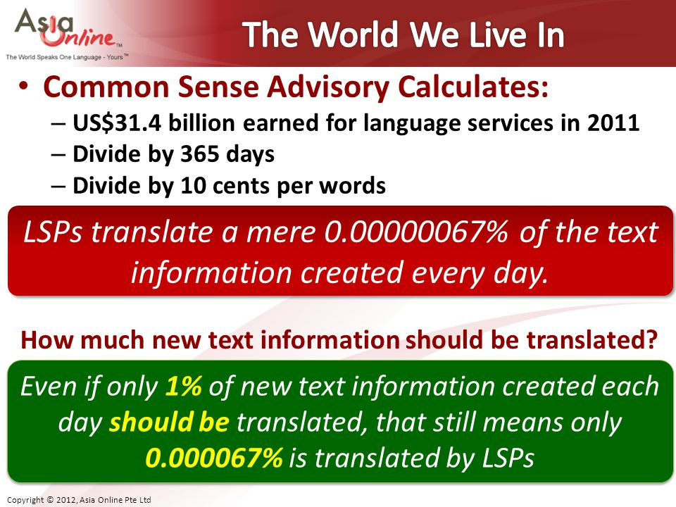 The World We Live In Common Sense Advisory Calculates: