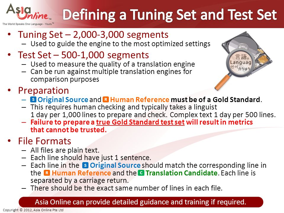 Defining a Tuning Set and Test Set