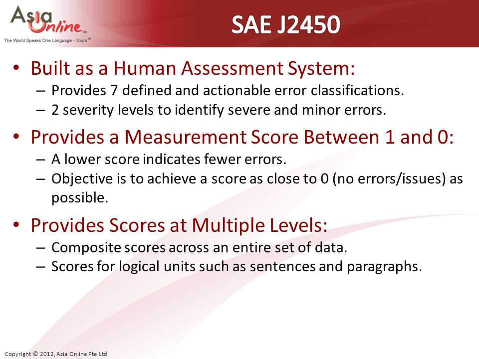 SAE J2450 Built as a Human Assessment System: