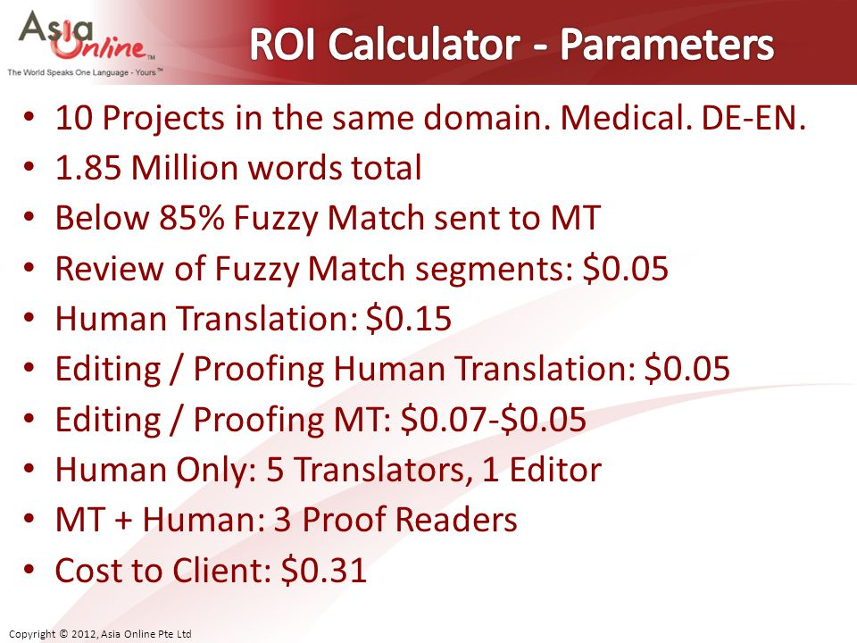ROI Calculator - Parameters