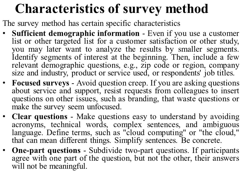 Characteristics of survey method