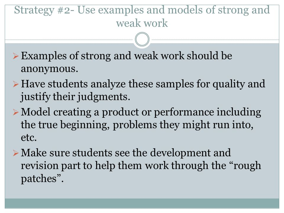 Strategy #2- Use examples and models of strong and weak work