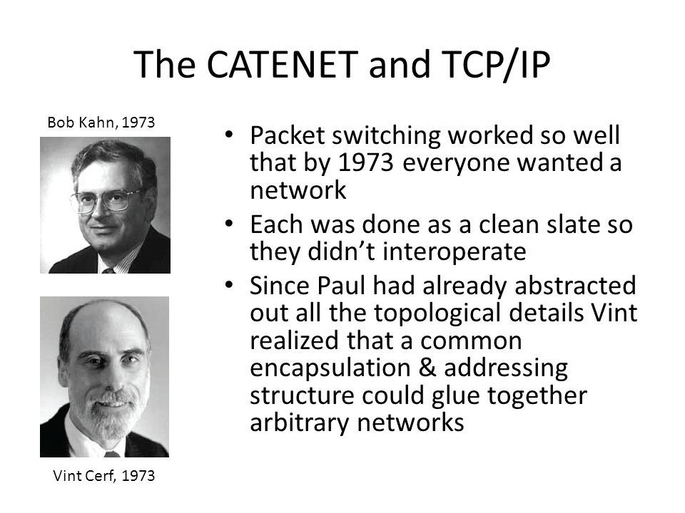 The CATENET and TCP/IP Bob Kahn, 1973. Packet switching worked so well that by 1973 everyone wanted a network.