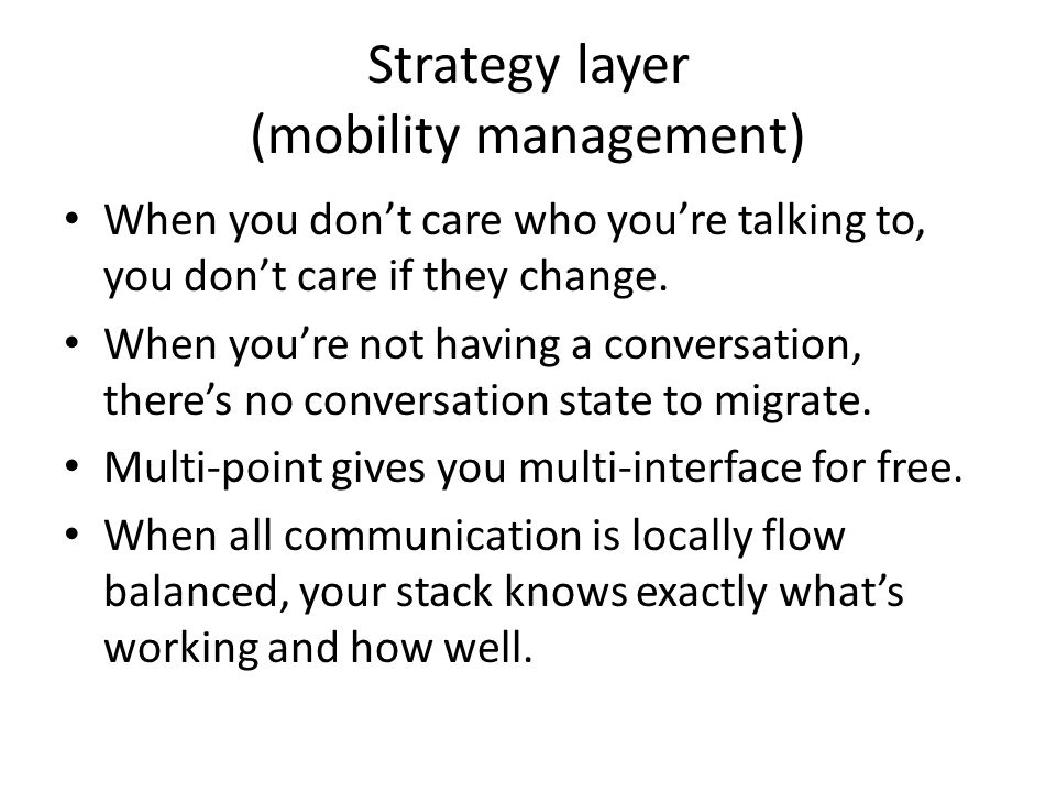 Strategy layer (mobility management)