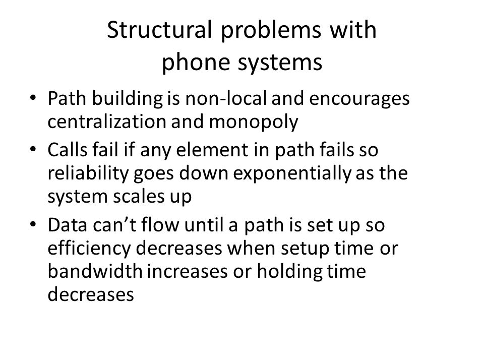 Structural problems with phone systems
