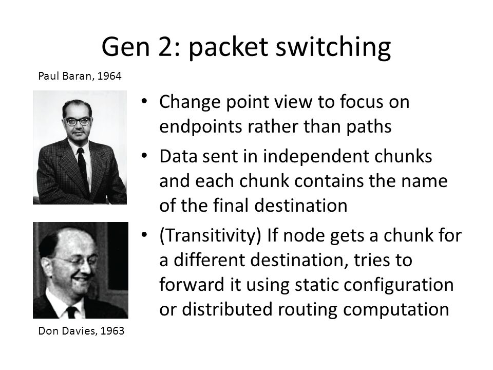 Gen 2: packet switching Paul Baran, 1964. Change point view to focus on endpoints rather than paths.
