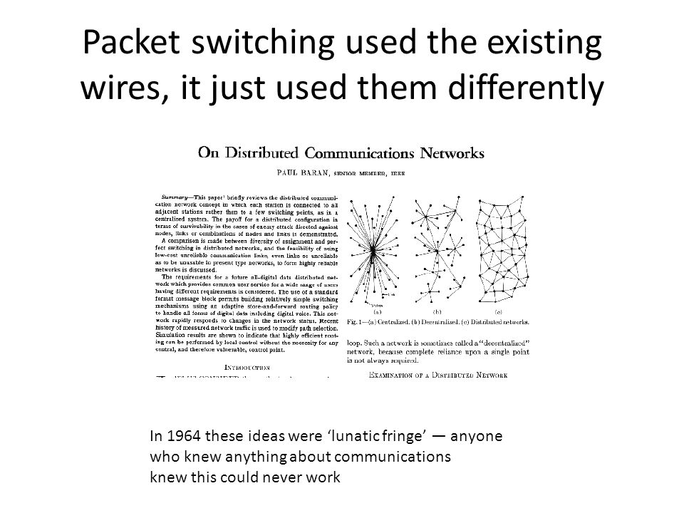 Packet switching used the existing wires, it just used them differently