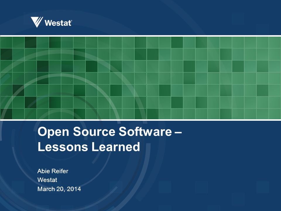 Open Source Software – Lessons Learned