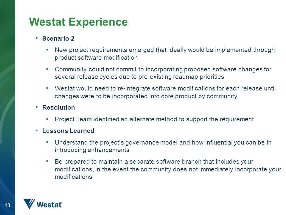 Westat Experience Scenario 2