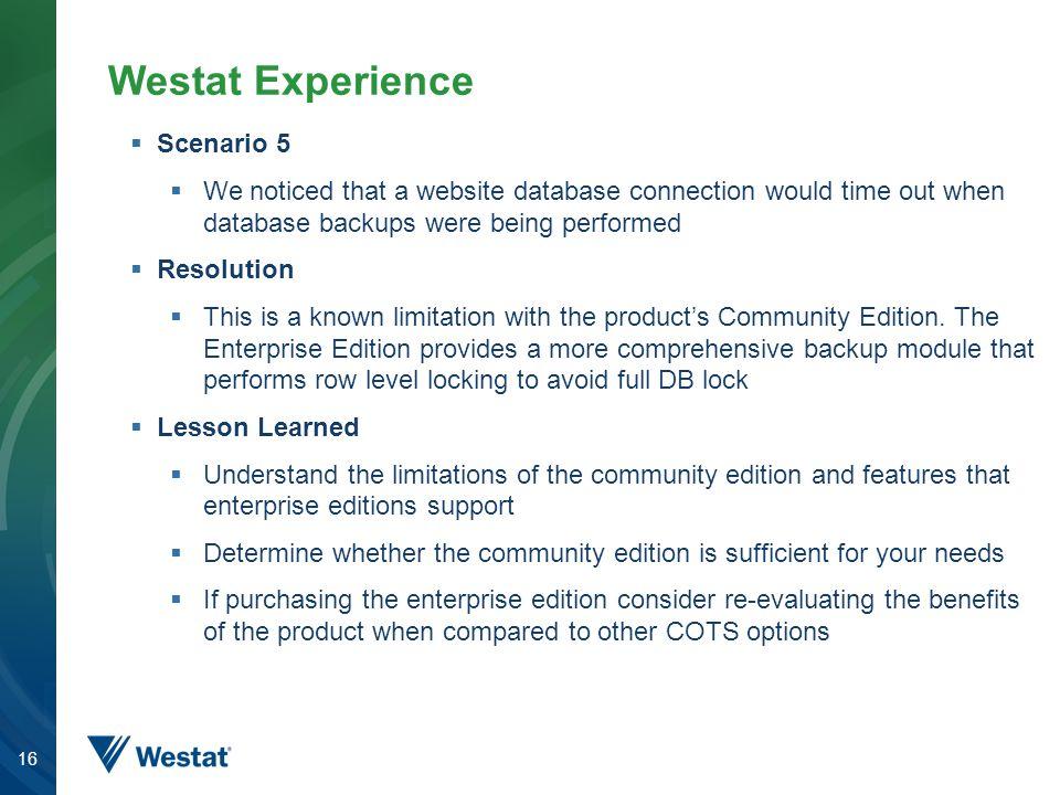 Westat Experience Scenario 5