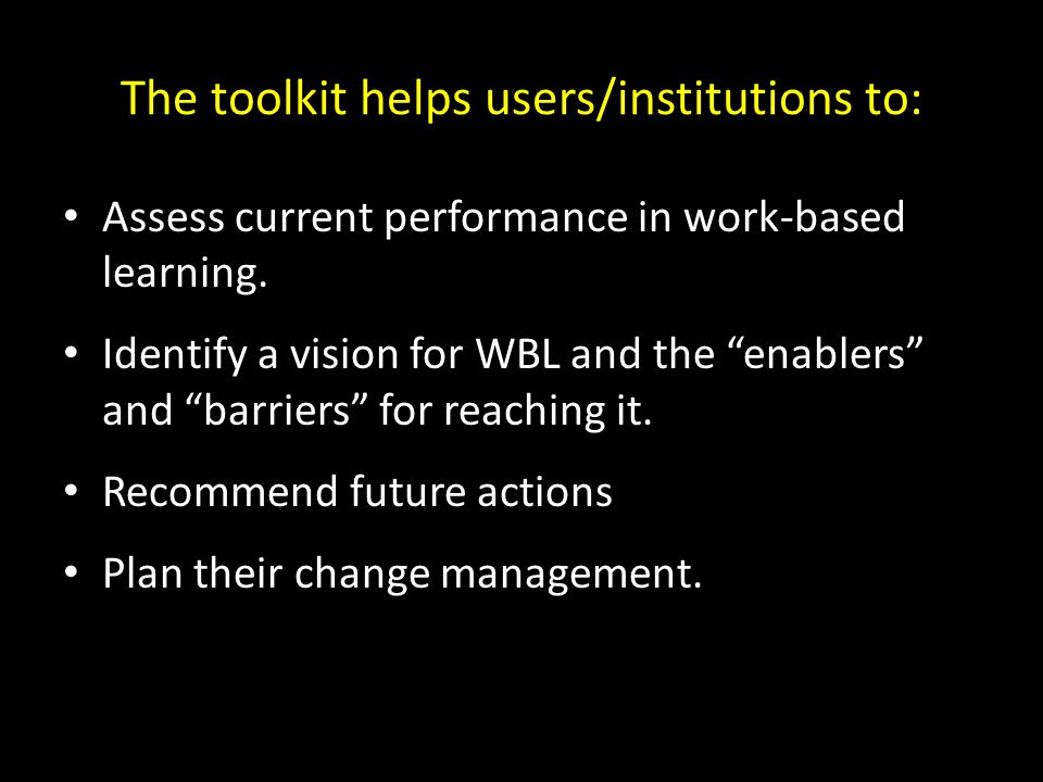 The toolkit helps users/institutions to: