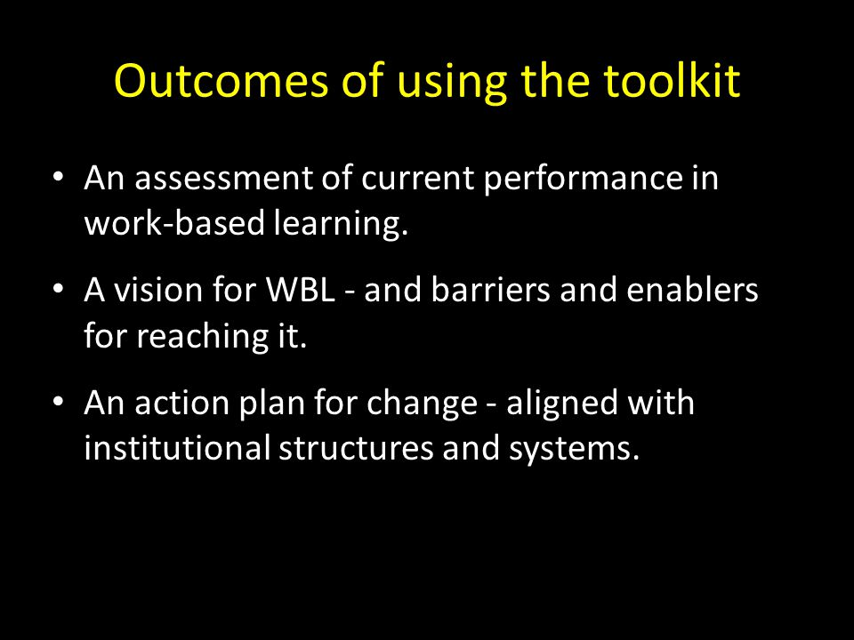Outcomes of using the toolkit