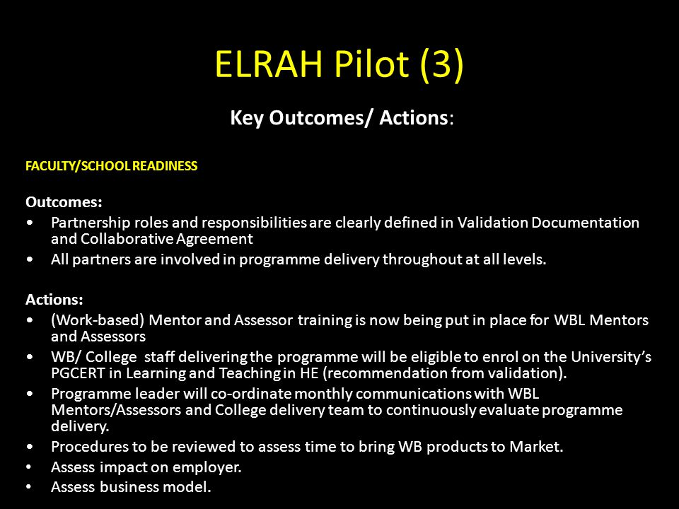Key Outcomes/ Actions: