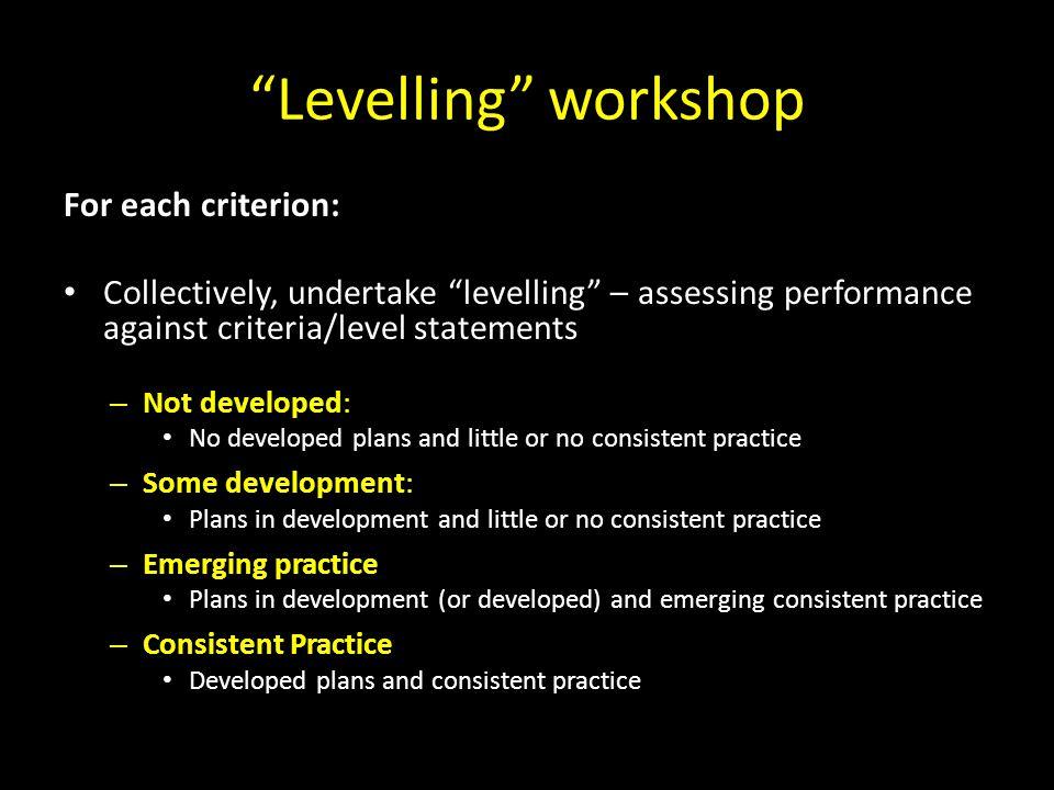 Levelling workshop For each criterion: