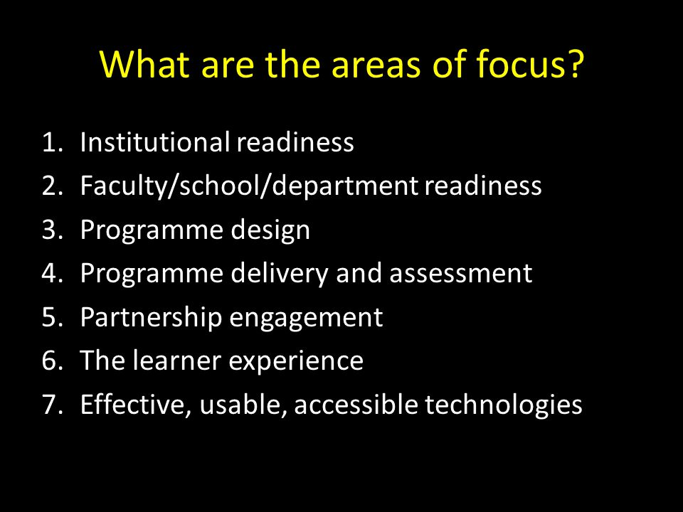 What are the areas of focus
