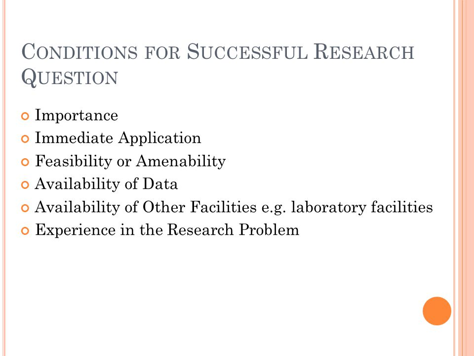 Conditions for Successful Research Question