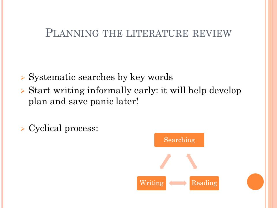 Planning the literature review